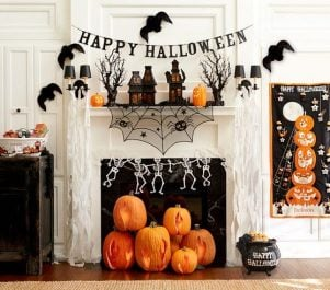 Happy Halloween Mantel with banners and garlands