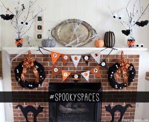 traditional orange and black Halloween Mantel