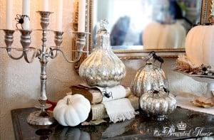elegant Black & White Halloween Mantel