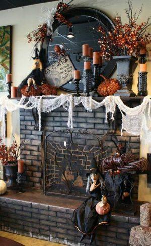 Gothic Witch Halloween Mantel Decor