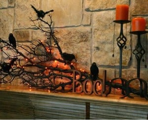 Black Branch with Crows Mantel