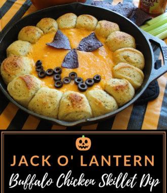 Jack O' Lantern Buffalo Chicken Skillet Dip Halloween Appetizer