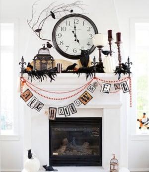 modern Halloween Mantel with halloween garland