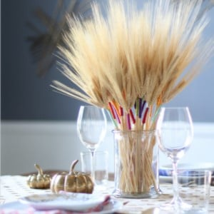 Color Wrapped Wheat in a vase