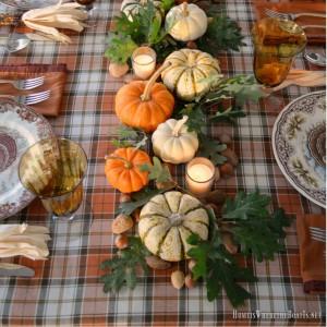 Thanksgiving centerpiece with Pumpkin Oak Leaf Runner