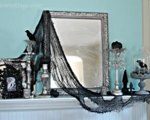 Gothic Style Haunted Mantel with creepy cloth and framed mirror