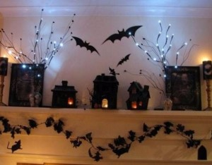 Halloween Village for the Mantel