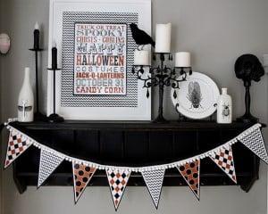 Printable Halloween Banner & Art for a Halloween mantel