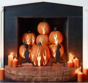 Fire Carved Pumpkin Fireplace