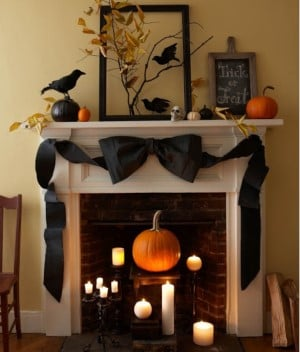 Black Bow Halloween Mantel