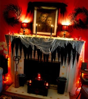 Scary Red  and black glowing Halloween Mantel
