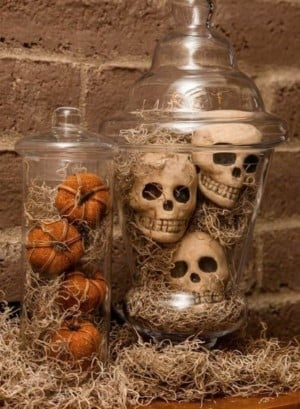 Moss Covered Skulls & Pumpkins in jars Halloween Mantel Decoration