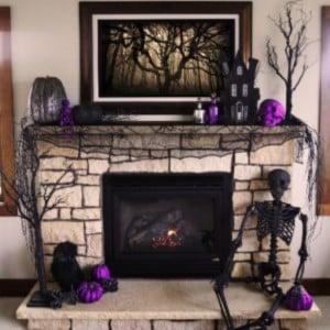 Black and Purple Halloween Mantel Decor