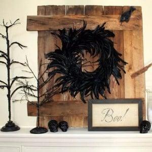 Rustic Halloween Mantel with black feather halloween wreath