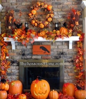 5 Minute fall Mantel with fall leaves garland and pumpkins
