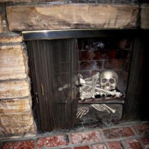 faux Skulls and bones in the Fireplace