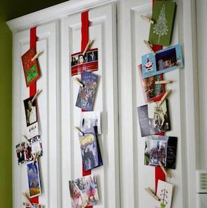 Kitchen Cabinet Christmas Card Display