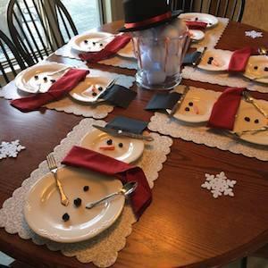 Snowmen Place Setting Christmas Party Table Decor
