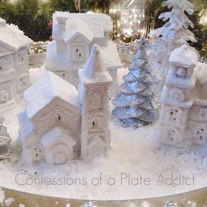 Dollar Tree Snowy Village DIY Christmas Decoration