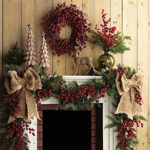 berry garland christmas mantel source unknown