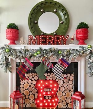 vintage christmas mantel from meme hill