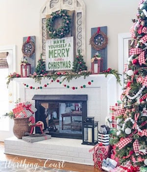 farmhouse christmas mantel from worthing court
