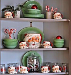 Vintage Christmas Decorated Kitchen Shelves with Santa Mugs