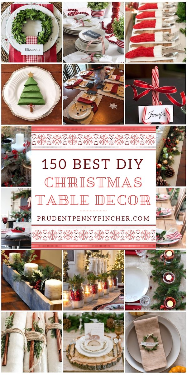 150 best diy christmas table decorations - Simple Christmas Table Decorations