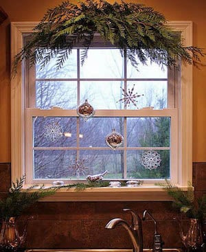 lighted christmas window decorations indoor rustic christmas kitchen window source unknown - Lighted Christmas Window Decorations Indoor