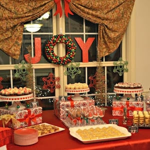 Red & Green Themed Christmas Party dessert table