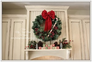Christmas Wreath on kitchen cabinets