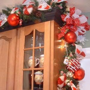 Kitchen Cabinet Christmas Deco Mesh Garland Decor