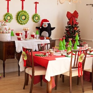 Penguin Christmas Party dining room set up