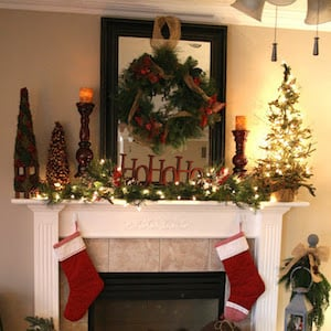 rustic christmas mantel from chic on a shoestring - Vintage Rustic Christmas Decorations