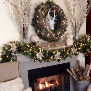 snowy woodland christmas mantel from 2 ladies and a chair