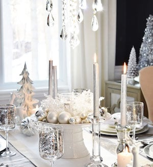 White And Silver Holiday Tablescape From Citrine Living