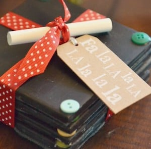 Chalkboard Coasters from Living Well Spending Less & 150 DIY Christmas Gifts Under $10 - Prudent Penny Pincher