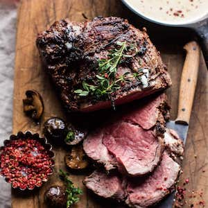 Roasted Beef Tenderloin with Mushrooms and White Cream Sauce