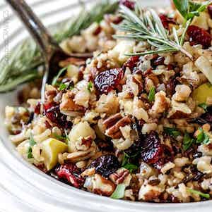 Cranberry Apple Pecan Wild Rice Pilaf christmas party side dish