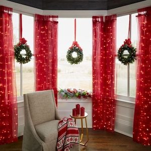 Lighted Christmas Wreath and Curtains