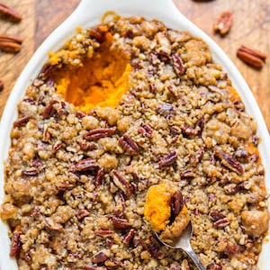 Sweet Potato Casserole with Butter Pecan Crumble Topping christmas party dinner recipe