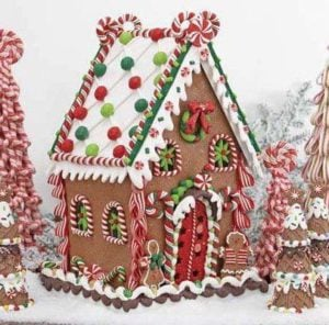 Festive red and green Gingerbread House Idea