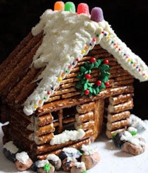 Pretzel Gingerbread Cabin
