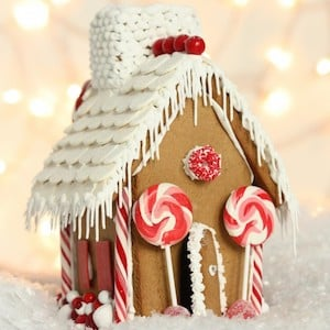 White and Red Gingerbread House
