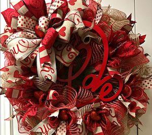 Valentine Day Mesh Wreath Valentine Deco Mesh Wreath Valentine Day Decor Valentine/'s Day Wreath Valentine ribbon Wreath