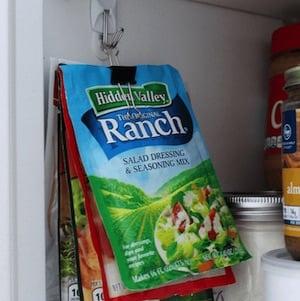 Binder Clip Packet Holder for Pantry Cabinet