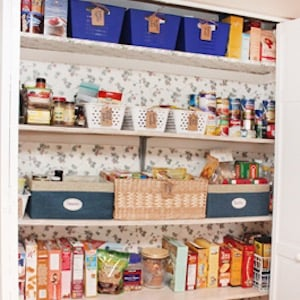 Pantry Makeover Using Dollar Store Bins