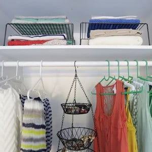 Tiered shelving for closet