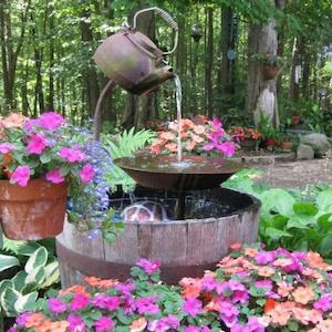 Tea Pot Fountain surrounded by flowers