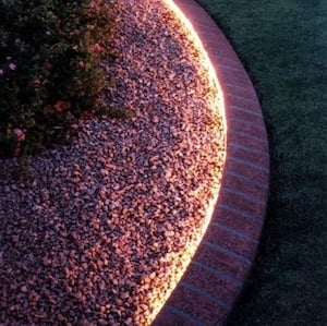 Rope light lined walkway for Front Yard